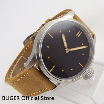 Sapphire Crystal BLIGER 43MM Sterile Dial Men's Watch Big Face Leather Strap Hand Winding Movement  Wrist Watch