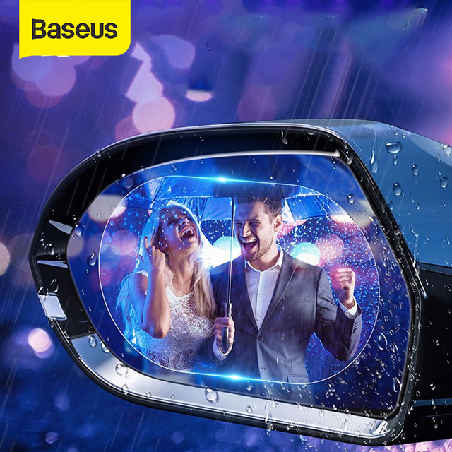 Baseus 2pcs 0.15mm Car Mirror Window Film Anti-glare Waterproof Car Rear-View Anti Fog Protective Mirror Sticker