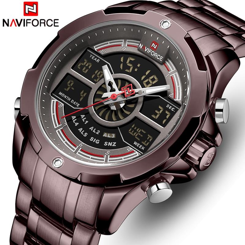 Men Watch Top Luxury Brand New NAVIFORCE Fashion Quartz Men's Watches Stainless Steel Waterproof Wristwatch Analog Digital Clock