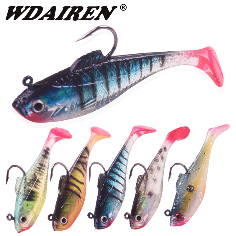 1Pcs 3D Eyes Jig Wobblers Lures 3.5g 11.5g Single Hook Lead Fishing Lure With T Tail Soft Fishing Lure Artificial Rubber Bait