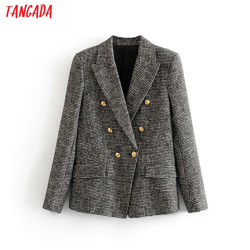 Tangada Women Warm Winter Double Breasted Suit Jacket Office Ladies Vintage Plaid Blazer Pockets Work Wear Outwear 3H154
