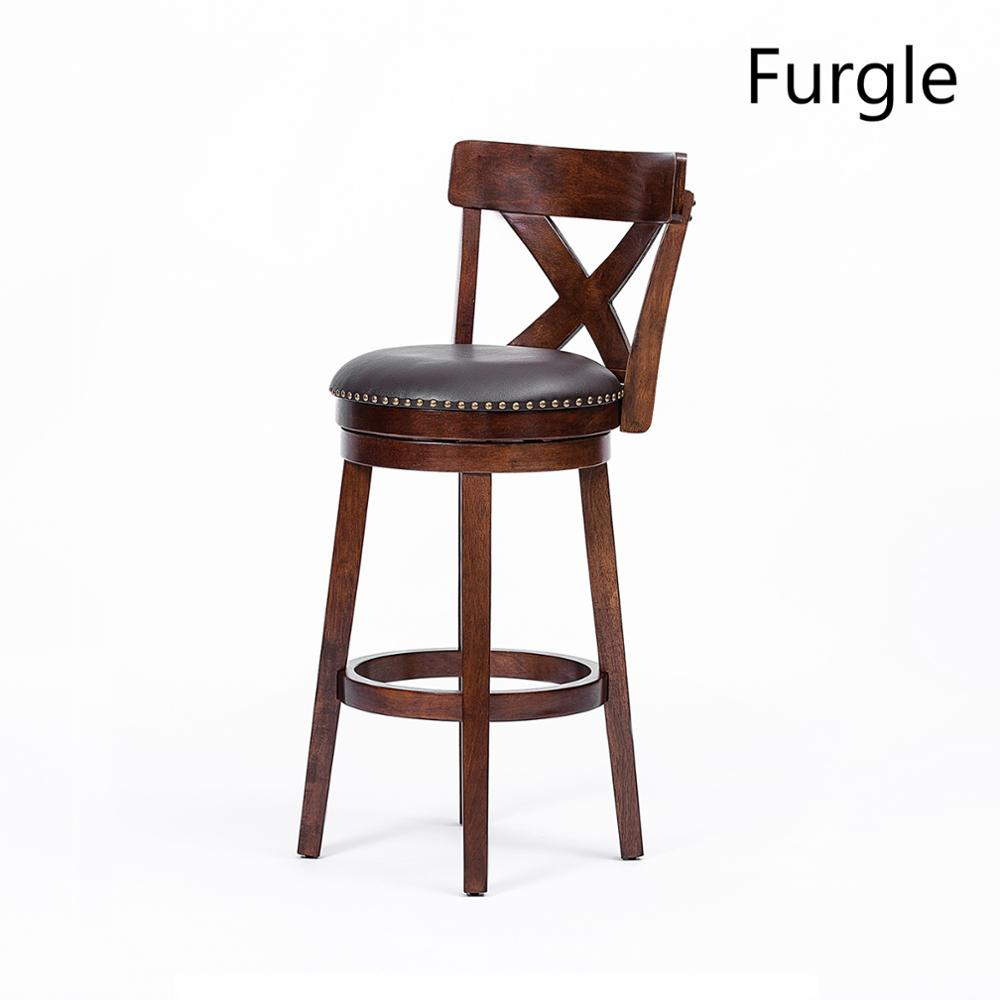 """Furgle Expresso New Bar Stools 9'' 9"""" Height Padded Seat Swivel Bistro  Kitchen Dining Pub Chair Leather Bar Chairs Wood bar"""