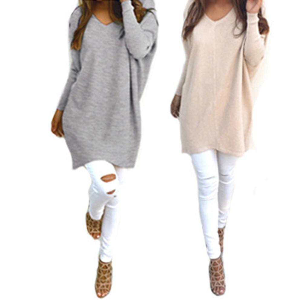 2019 New Women's Sweater  Autumn Winter Cotton  Casual Women Solid Color Sweater V Neck Long Sleeve Loose Knitwear
