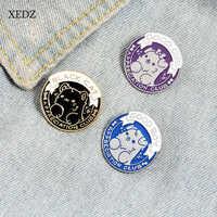 XEDZ azul/púrpura/Negro redondo cachorro buen niño/niña niños animal esmalte pin macho y hembra placa de metal punk ropa de solapa broche