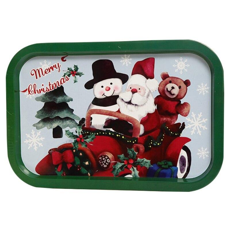 Рождественский жесть декоративный поднос для хранения пищи сервировочная тарелка Фруктовница праздничный Домашний Органайзер украшения - Цвет: 5