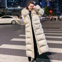Стиль, для сезона, Южная Корея, дундэмун, пуховик, хлопковая стеганая одежда, женская, средней длины, большой меховой воротник, толстая