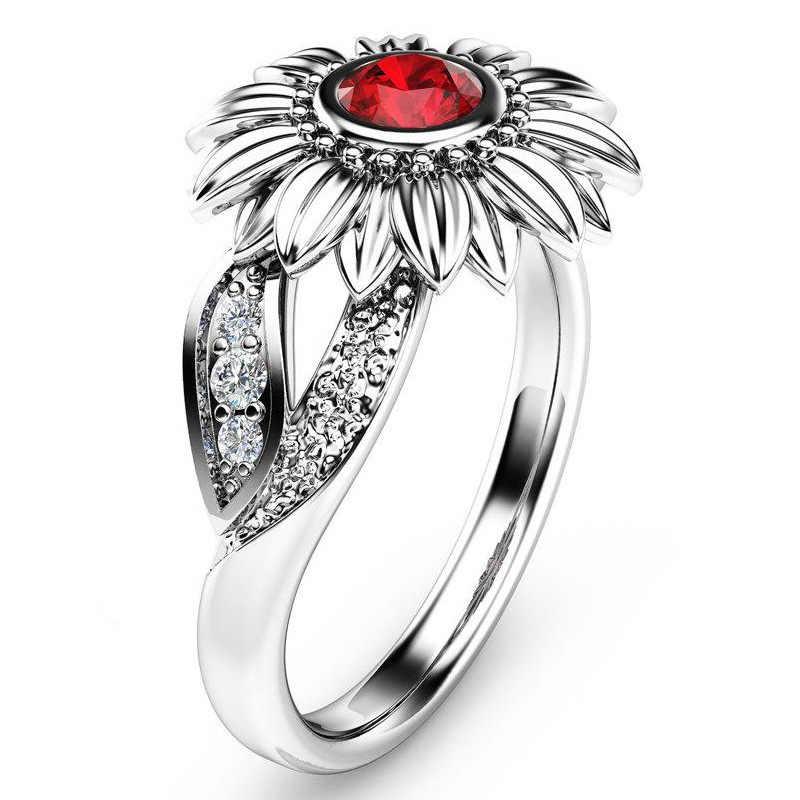 Novo casal delicado vermelho sol flor girassol jóias senhoras noivado anel de presente de casamento tamanho 5-12