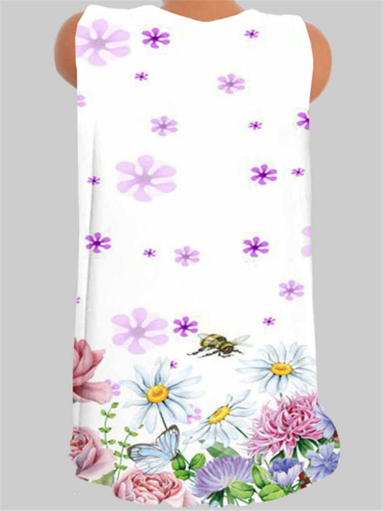 Mode grande taille fille T-shirt col en v sans manches gilet impression décontracté dames T-shirt haut femmes