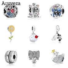 Novo girassol roda gigante gotejamento de óleo zircão diy pingente de contas se encaixa pandora charme original prata 925 pulseiras jóias femininas