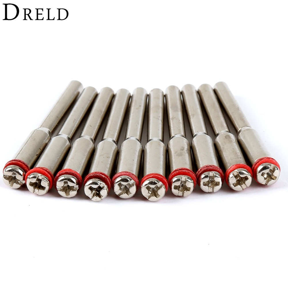 DRELD 10Pc 3.175mm Diamond Cutting Disc Mandrels Polishing Wheel Mandrel Cutting Wheel Holder For Rotary Tool Dremel Accessories