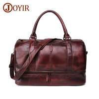 JOYIR Genuine Leather Men Travel Bag Vintage Duffle Bag Large Capacity Luggage Bag Male Messenger Shoulder Tote Man Bag Handbag