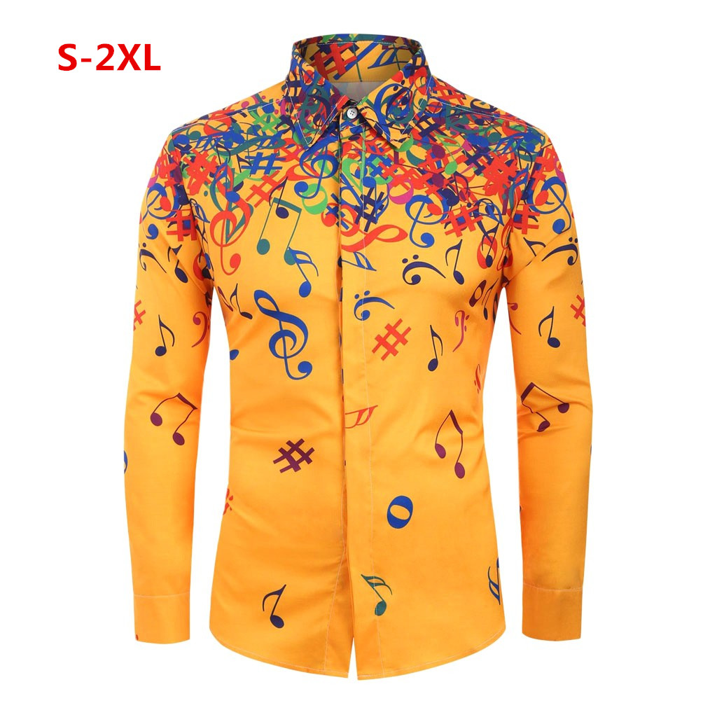 Striped Solid Printed Loose Shirts Yellow Casual Brand Blouse Slim Fit Beach Retro Shirt Men's Long Sleeve Shirt Homme Top