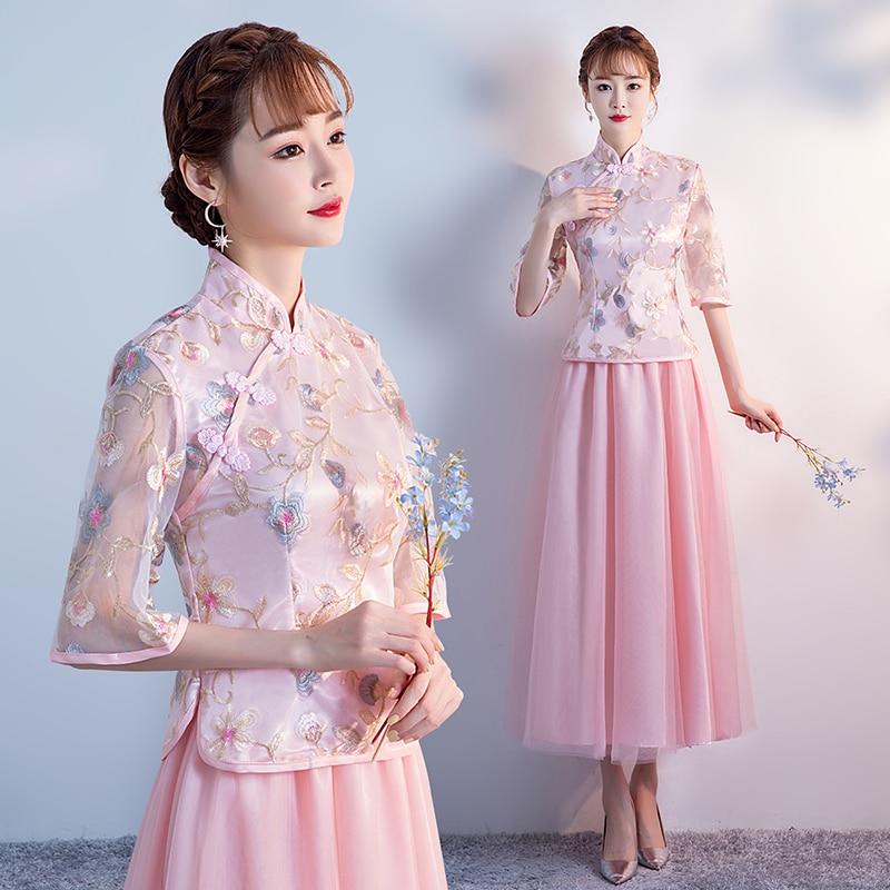 2pcs Set Pink Bridesmaid Dress Vintage Embroidery Party Cheongsam Wedding Guest Elegant Dress Half Sleeve Tea-length Sexy Prom