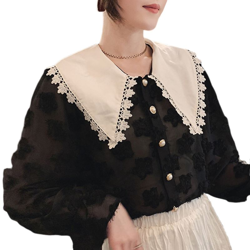 Women Girls Sweet Doll Half Shirt Blouse Embroidery Flower Lace Patchwork Trim Lapel Detachable Pointed False Fake Collar 449F