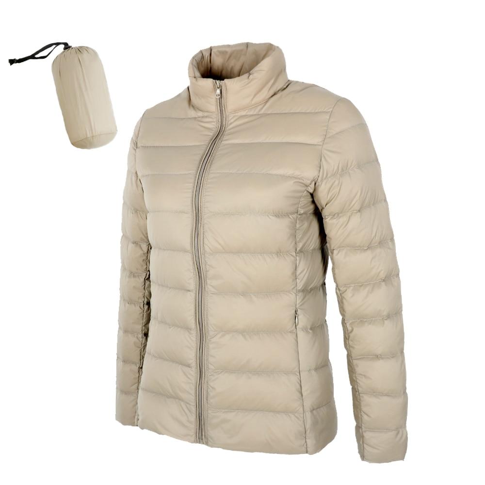 2019 New Matte Woman Ultra Light Duck Down Jacket Stand Collar Warm Outwear Soft Coats
