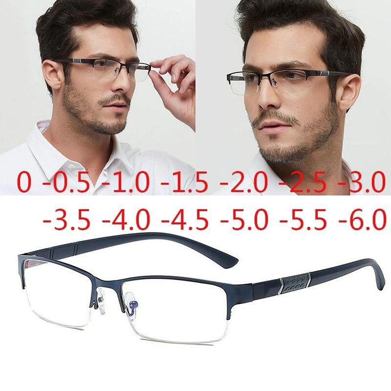 Halb Metall Rahmen Kurzsichtig Gläser Unisex Rezept Myopie 0-0,5-1-1,5-2-2,5-3 -4 -5 -6