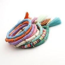Multicolorido boêmio escudo borla pulseira 7 cores ehthic praia boho afirmação corda de algodão corrente tecido pulseira para mulher