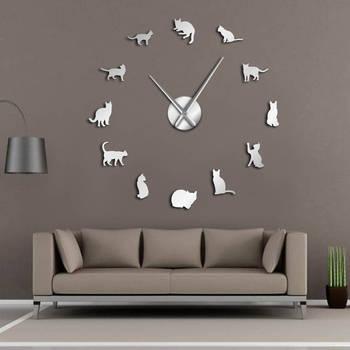 실루엣 고양이 벽 예술 새끼 고양이 diy 거대한 벽시계 장난 꾸러기 고양이 큰 바늘 키티 소녀 방 대형 벽 시계 고양이 팬 선물