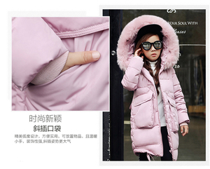 Image 3 - 2019 New Fashion Children Winter Jacket Girl Winter Coat Kids Warm Thick Fur Collar Hooded long down Coats For Teenage 4Y 14Y