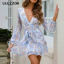UULZZOR Sexy v neck women dresses Elegant floral print lantern sleeve ruffle wra