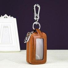 2019 New Genuine Leather Men Car Key Holders Large Capacity Fashion Cowhide Double Zipper Window Case Women Wallet