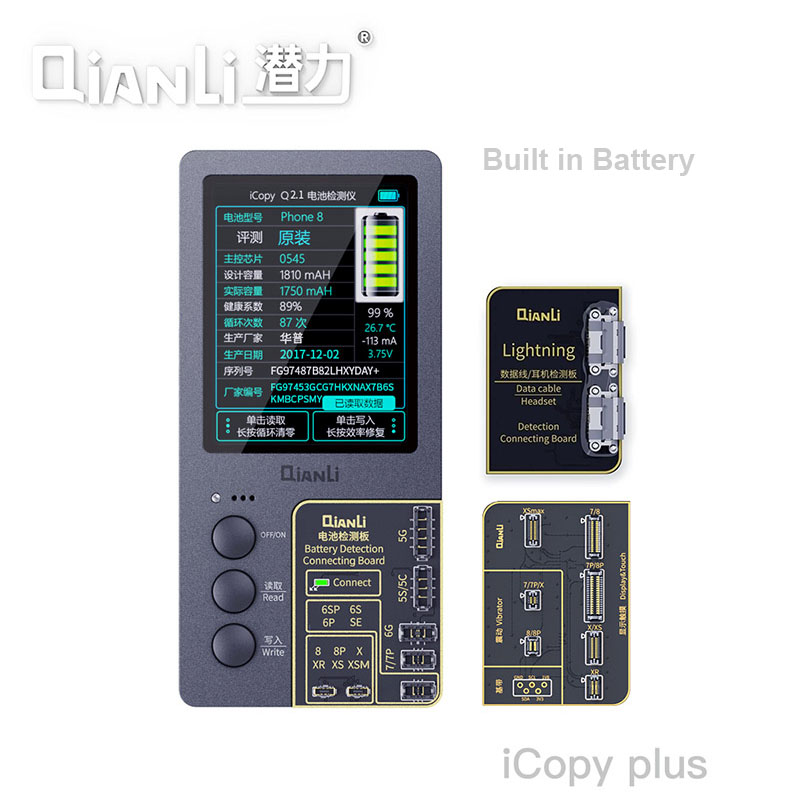 Qianli ICopy Plus Orginal Color Data Line Headset Detection Repair Programmer For IPhone XR XSMAX 8P 8 7P 7 Vibration/Touch