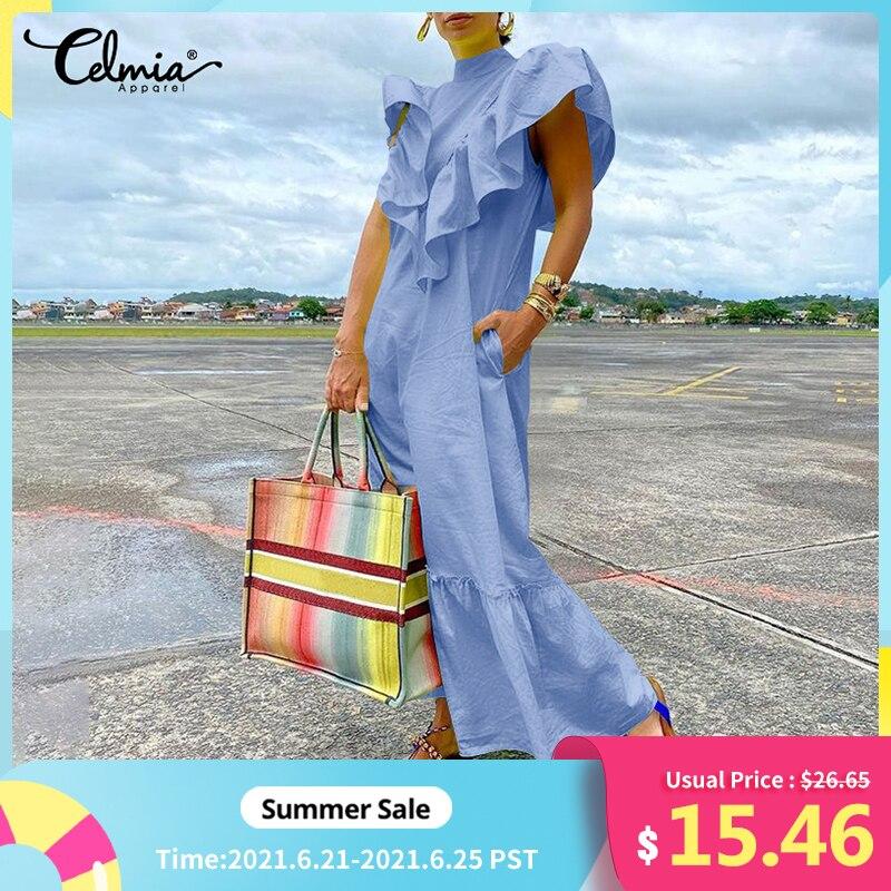 Celmia Women Sexy Sleeveless Maxi Dress 2021 Summer Ruffles Long Sundress Fashion Solid Casual Loose Party Beach Vestidos Robe