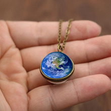 цена на 2019 Fashion Glass Ball Planet Earth Pendant Necklace 6 Style Vintage Time Gem Sweater Chain Necklace for Women Party Gifts