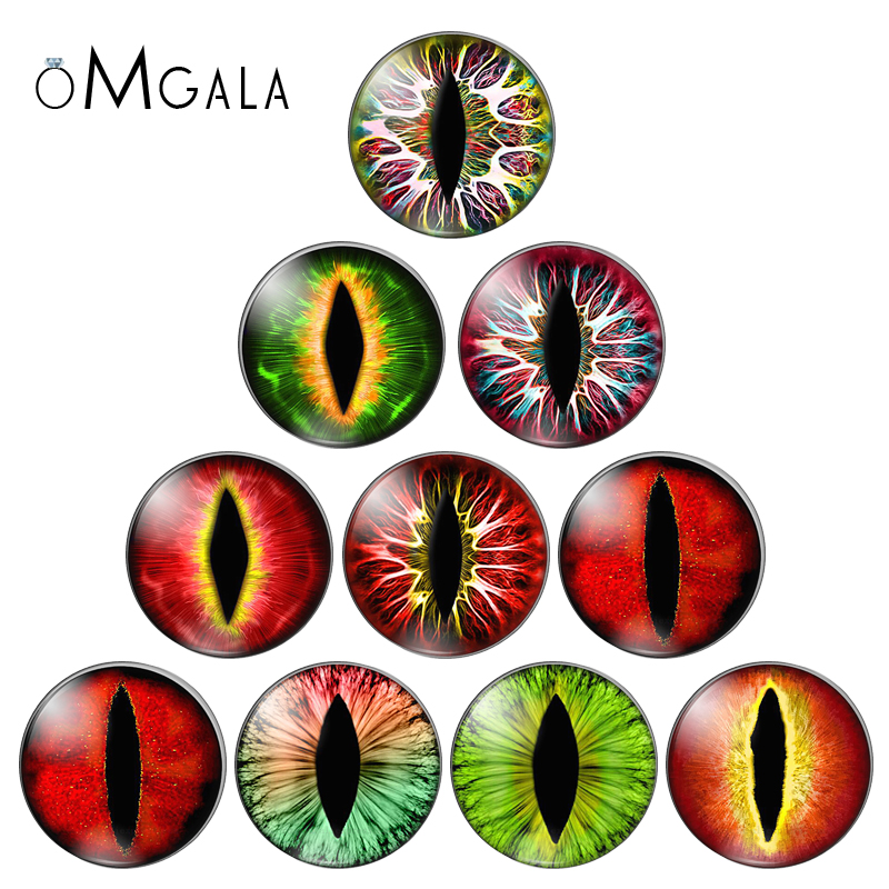 10mm/12mm/14mm/16mm/20mm/25mm In Pairs Cat Dragon Eyes Round Glass Cabochon Flatback Photo Jewelry Finding Cameo Pendant Setting