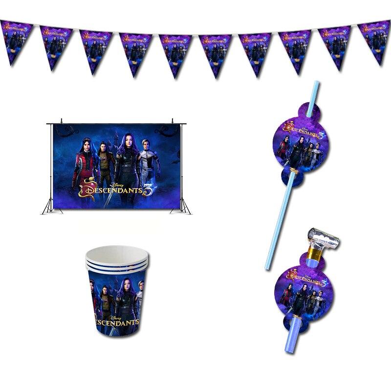 Потомки 3 день рождения украшения игры Сувениры тема Supplys баннерные чашки для детей