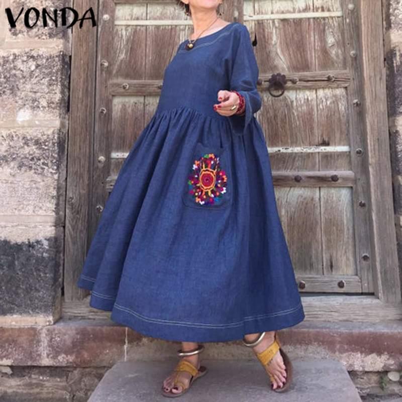 Demin Dress Women Vintage 3/4 Sleeve Bohemian Dress Beach Plus Size Sundress VONDA 2020 Autumn Female Casual Party Vestido S-5XL
