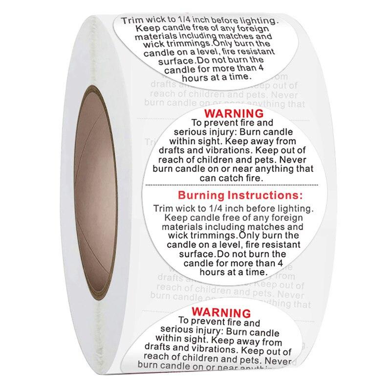 500 pces rolo etiqueta de advertência vela