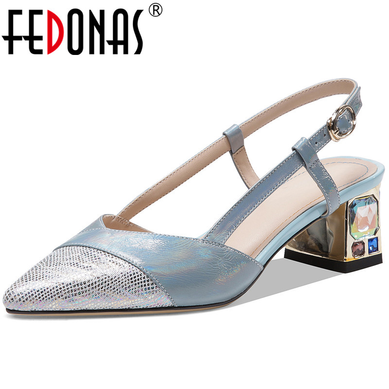 FEDONAS Genuine Leather Pointed Toe Women Sandals Metal Buckle High Heels Pumps 2020 Summer Newest Wedding Casual Shoes Woman