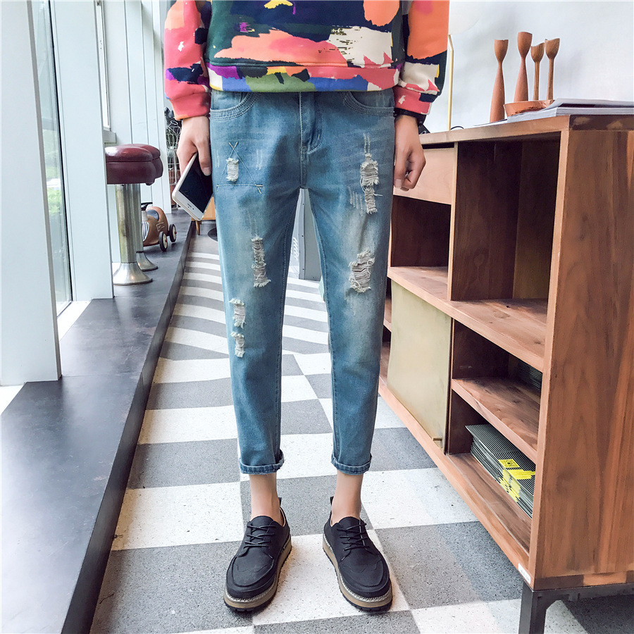 Autumn And Winter New Style Men'S Wear With Holes MEN'S Jeans Cool Trend Korean-style Slim Fit Pants