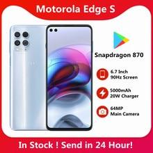 Smartphone originale Motorola Moto Edge S 5G 6.7 pollici Snapdragon 870 5000mAh batteria grande 64MP 16MP NFC telefono cellulare con impronta digitale
