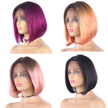 Brazilian Short Bob 13X4 Lace Wigs Straight Ombre Purple Lace Front Wigs 150% Wigs Remy Natural Human Hair Wig For WomenEuphoria(China)