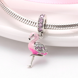Hot 925 Sterling Silver Pink Sparkling CZ Flamingo Charms For jewelry making Pendants Fit Original Charm Pandora Bracelets(China)