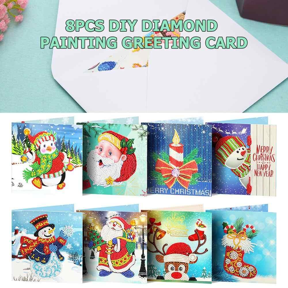 8/6/4 Uds 5D DIY diamante pintura tarjeta de felicitación Navidad cumpleaños Festival en forma especial postales de Navidad dibujo para manualidades niños regalo