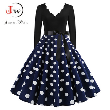 Women Vintage Long Sleeve Christmas Dress Winter Plus Size Swing Elegant Lacework Party Dress Robe Casual Black Print New Year 3