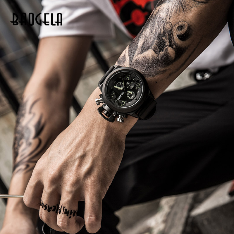 BAOGELA Chronograph Watch Top Brand Luxury Luminous Silicone Quartz Wrist Watches Military Sports Wristwatch For Man 1606