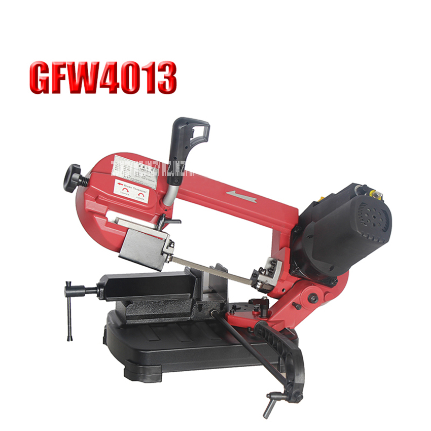 New GFW4013 Portable Metal Band Saw 5-inch Small Dual-use Band Sawing Machine Woodworking Band Saw Machine 220V 550W 38-80m/min