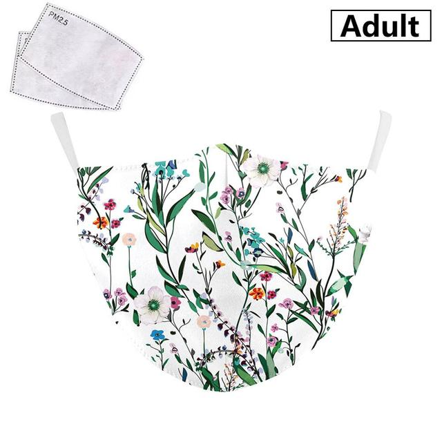PM2.5 Face Adult Mask Plum blossom sunflower Print Mask Reusable Washable Filter Pad Pollution Activated Carbon Women Face Masks 4