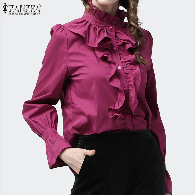 Women Casual Ruffles Blouse ZANZEA Spring Elegant Long Sleeve Office Shirt Buttons Flounce Blusa Tunic Tops Robe Shirt Chemise