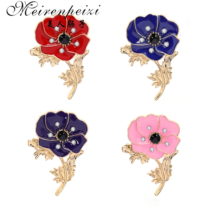 Meirenpeizi Red Poppy Pin Remembrance