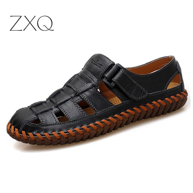 Plus 38-48 Fashion Handmade Gladiator Genuine Leather Men Sandals Soft Leather Moccasins High Quality Men Shoes