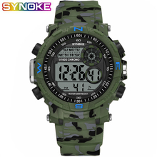 SYNOKE Sports Men Digital Watches Military Camouflage Green Led Luminous Waterproof Shockproof Alarm Date Week Male WristWatches