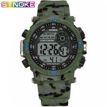 Synoke спортивные мужские цифровые часы военный камуфляж зеленый