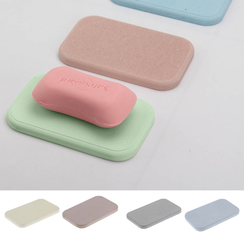 Reusable Bathroom Absorbent Anti Bacterial Diatomite Earth Soap Bar Saver Holder Dish Mat Coaster Organizer Tray