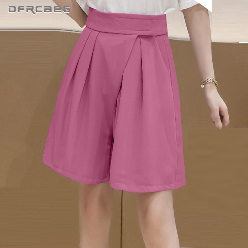 Rose Red Loose Summer Bermuda Wide Leg Shorts Women 2020 High Waist Knee Length Capris Short Suit Trousers Work Office Female