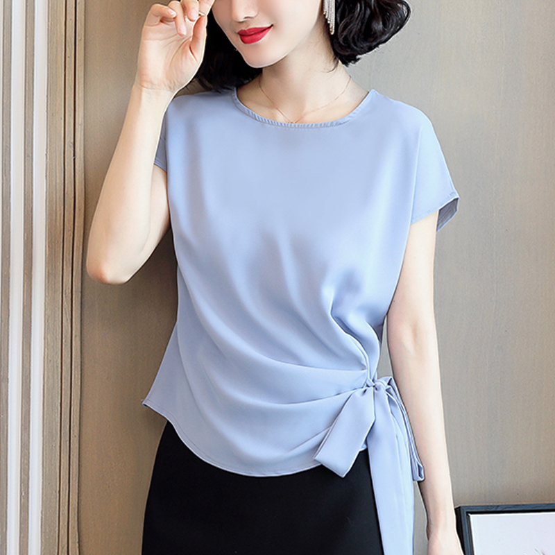 2021 Blusas Mujer De Moda Summer Silk Short-Sleeved Women's Blouse And Tops Office Lady Plus Size Solid Bow Shirts Women 9899 6